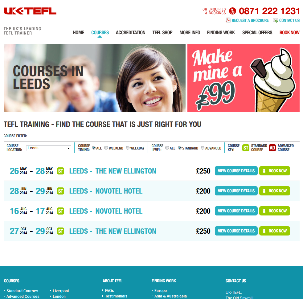UK-TEFL's New Booking System